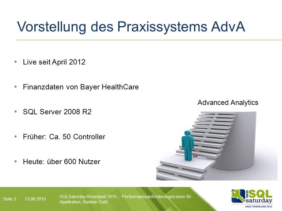 SQLSaturday Rheinland 2015 - Performanceanforderungen einer BI- Applikation, Bastian Sold 13.06.2015 Vorstellung des Praxissystems AdvA Seite 3 Live seit April 2012 Finanzdaten von Bayer HealthCare SQL Server 2008 R2 Früher: Ca.