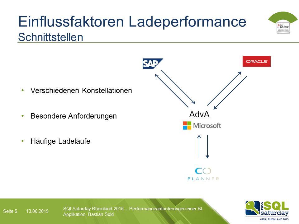 Einflussfaktoren Ladeperformance Schnittstellen AdvA Verschiedenen Konstellationen Besondere Anforderungen Häufige Ladeläufe SQLSaturday Rheinland 2015 - Performanceanforderungen einer BI- Applikation, Bastian Sold 13.06.2015 Seite 5