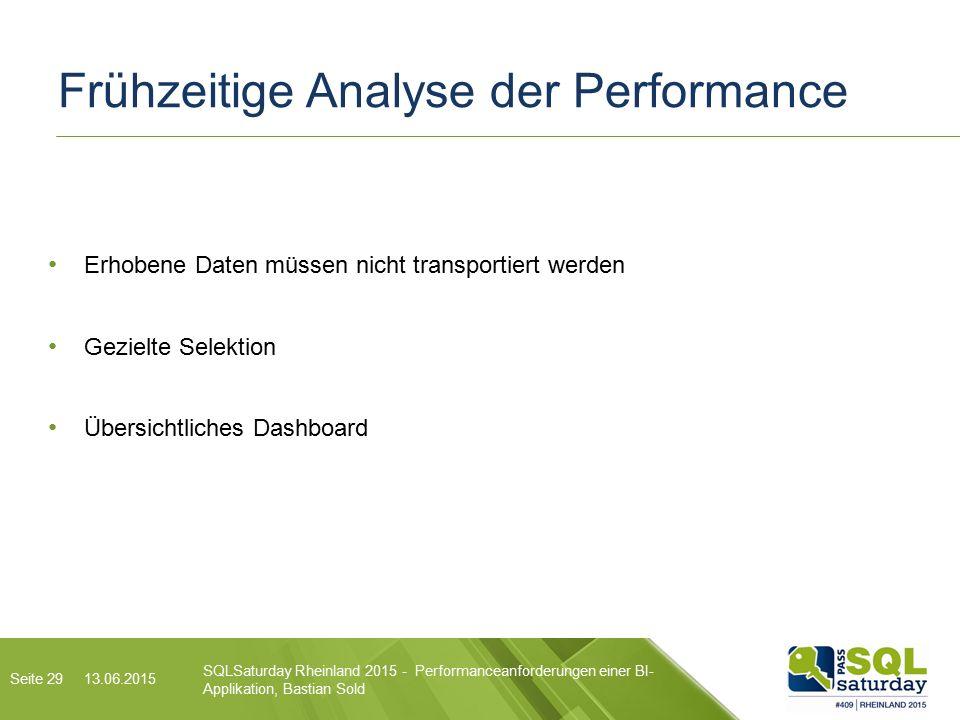 Frühzeitige Analyse der Performance 13.06.2015 SQLSaturday Rheinland 2015 - Performanceanforderungen einer BI- Applikation, Bastian Sold Erhobene Daten müssen nicht transportiert werden Gezielte Selektion Übersichtliches Dashboard Seite 29