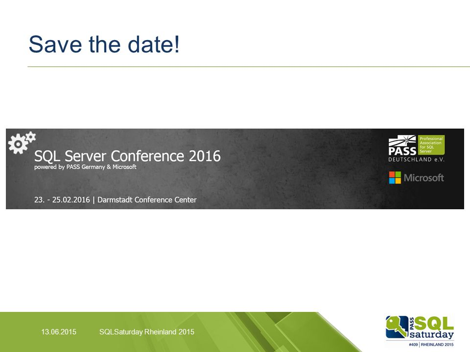 Save the date! SQLSaturday Rheinland 2015