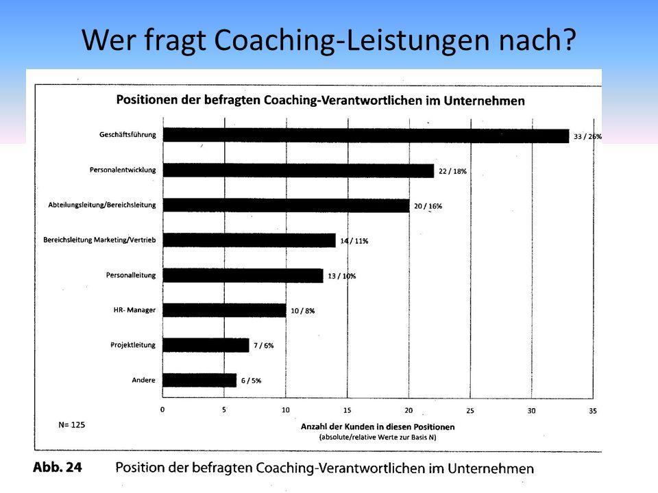 Wer fragt Coaching-Leistungen nach? Tabelle…..