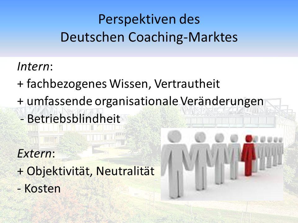 Perspektiven des Deutschen Coaching-Marktes Intern: + fachbezogenes Wissen, Vertrautheit + umfassende organisationale Veränderungen - Betriebsblindhei