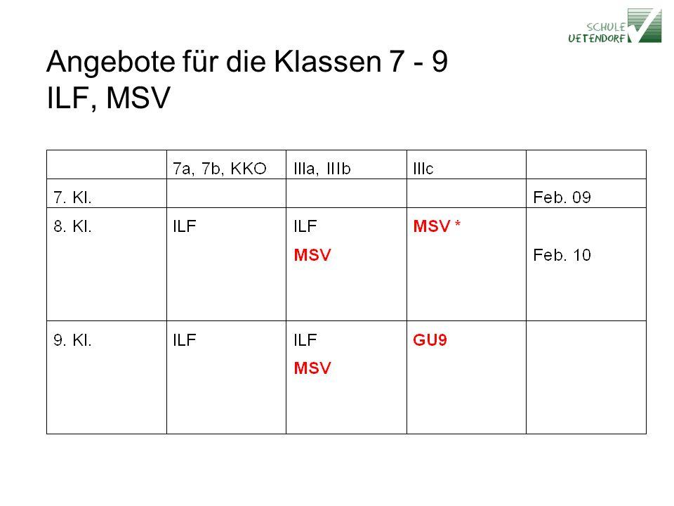 Angebote für die Klassen 7 - 9 ILF, MSV