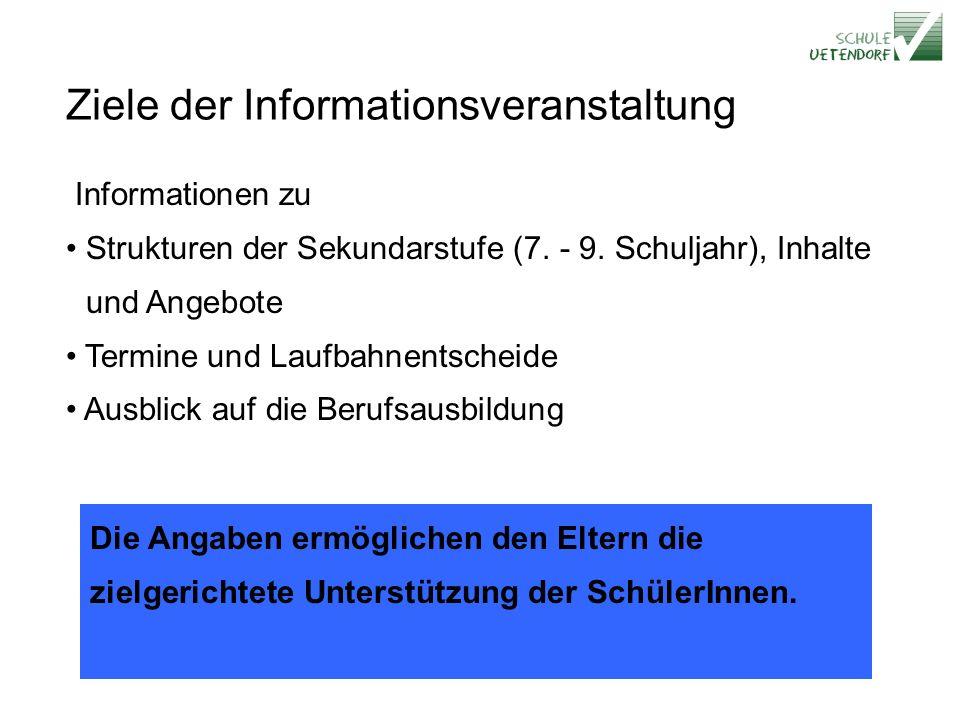 Ziele der Informationsveranstaltung Informationen zu Strukturen der Sekundarstufe (7.