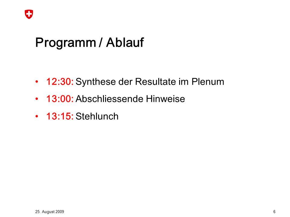 25. August 2009 6 Programm / Ablauf 12:30: Synthese der Resultate im Plenum 13:00: Abschliessende Hinweise 13:15: Stehlunch
