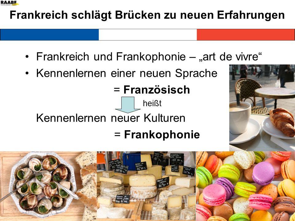 """Frankreich schlägt Brücken zu neuen Erfahrungen Frankreich und Frankophonie – """"art de vivre Kennenlernen einer neuen Sprache = Französisch heißt Kennenlernen neuer Kulturen = Frankophonie"""