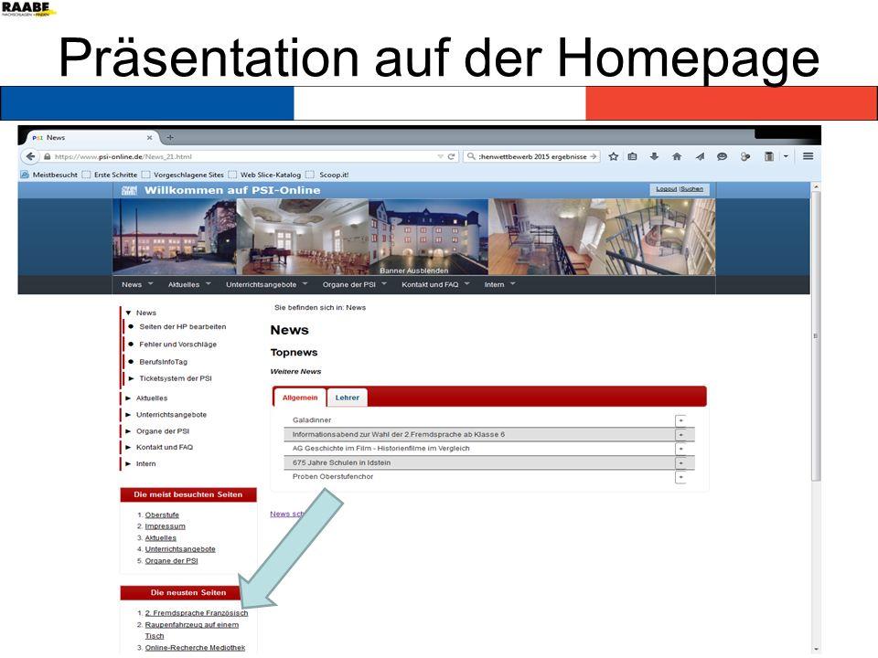 Präsentation auf der Homepage