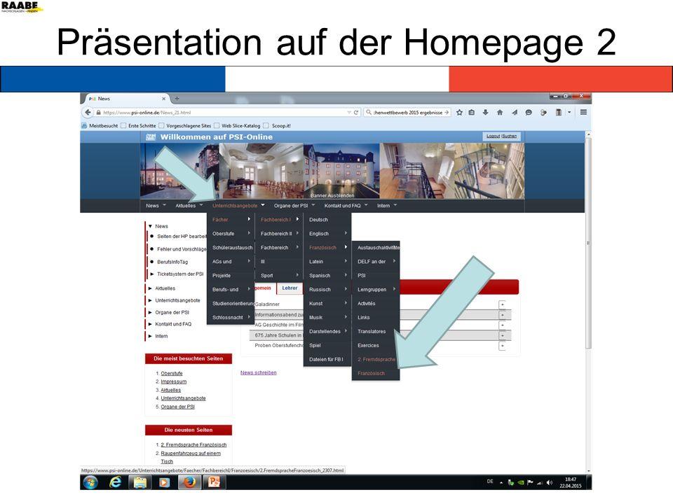 Präsentation auf der Homepage 2