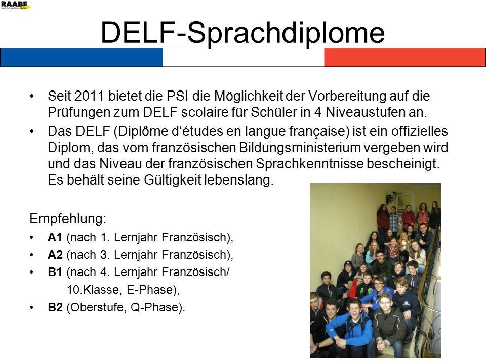 DELF-Sprachdiplome Seit 2011 bietet die PSI die Möglichkeit der Vorbereitung auf die Prüfungen zum DELF scolaire für Schüler in 4 Niveaustufen an.