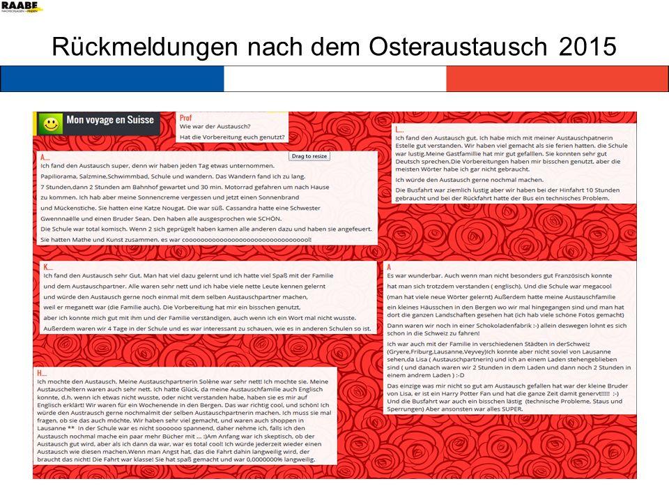 Rückmeldungen nach dem Osteraustausch 2015