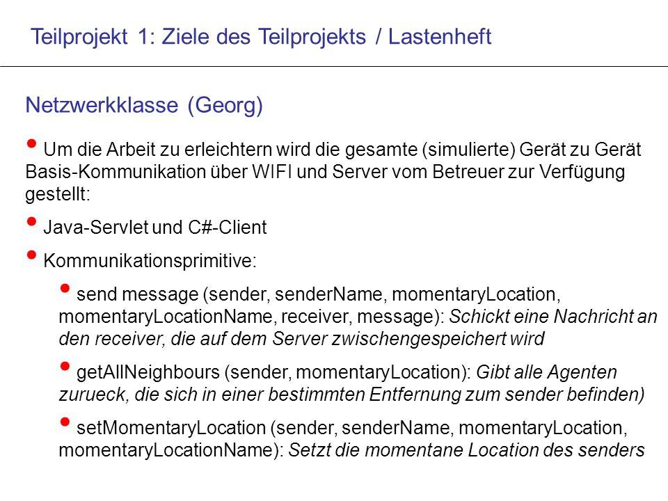 Teilprojekt 1: Ziele des Teilprojekts / Lastenheft Netzwerkklasse (Georg) Um die Arbeit zu erleichtern wird die gesamte (simulierte) Gerät zu Gerät Basis-Kommunikation über WIFI und Server vom Betreuer zur Verfügung gestellt: Java-Servlet und C#-Client Kommunikationsprimitive: send message (sender, senderName, momentaryLocation, momentaryLocationName, receiver, message): Schickt eine Nachricht an den receiver, die auf dem Server zwischengespeichert wird getAllNeighbours (sender, momentaryLocation): Gibt alle Agenten zurueck, die sich in einer bestimmten Entfernung zum sender befinden) setMomentaryLocation (sender, senderName, momentaryLocation, momentaryLocationName): Setzt die momentane Location des senders