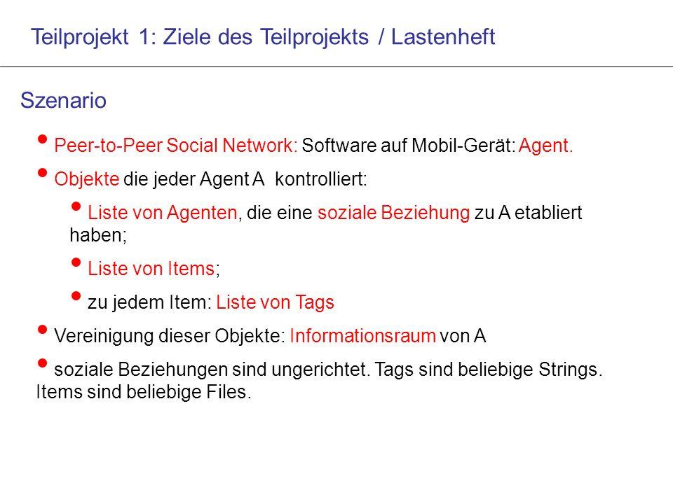 Teilprojekt 1: Ziele des Teilprojekts / Lastenheft Peer-to-Peer Social Network: Software auf Mobil-Gerät: Agent.