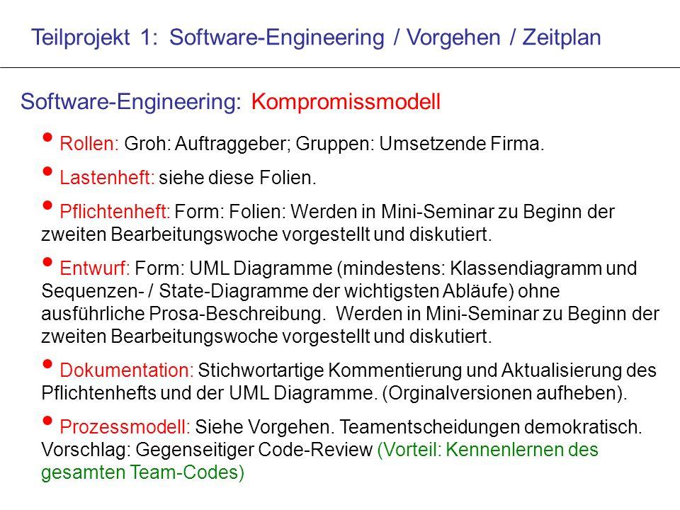 Teilprojekt 1: Software-Engineering / Vorgehen / Zeitplan Rollen: Groh: Auftraggeber; Gruppen: Umsetzende Firma.