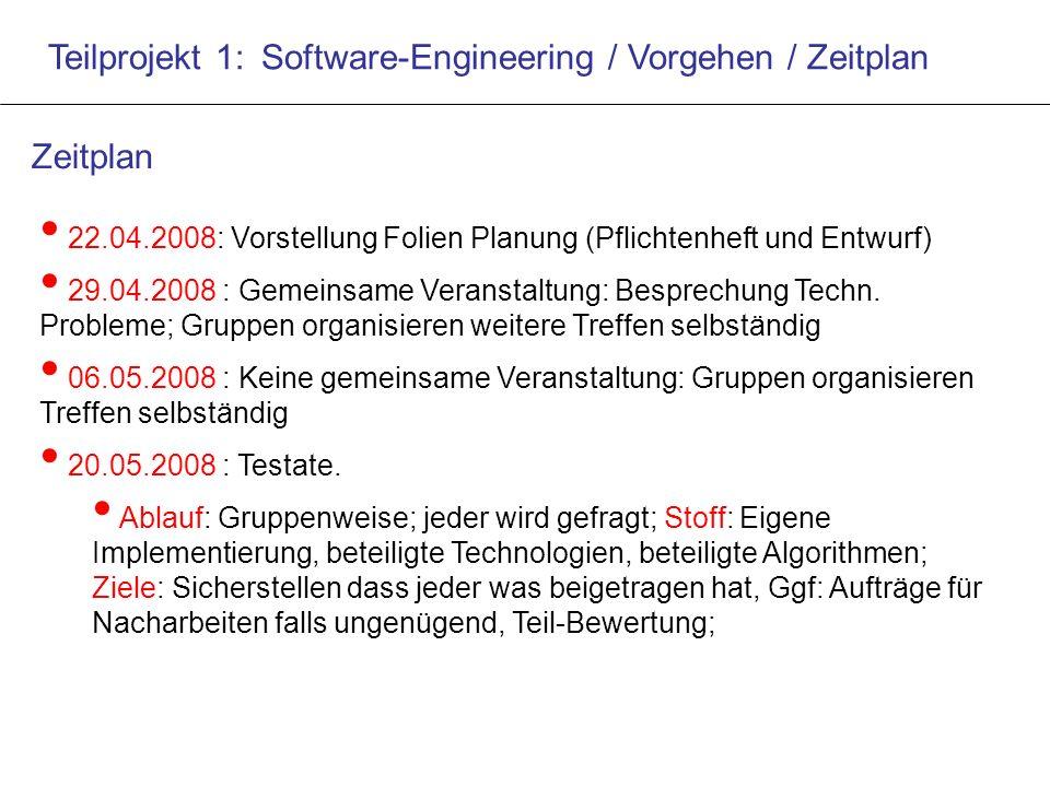 Teilprojekt 1: Software-Engineering / Vorgehen / Zeitplan 22.04.2008: Vorstellung Folien Planung (Pflichtenheft und Entwurf) 29.04.2008 : Gemeinsame Veranstaltung: Besprechung Techn.