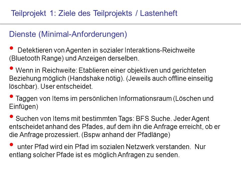 Teilprojekt 1: Ziele des Teilprojekts / Lastenheft Dienste (Minimal-Anforderungen) Detektieren von Agenten in sozialer Interaktions-Reichweite (Bluetooth Range) und Anzeigen derselben.
