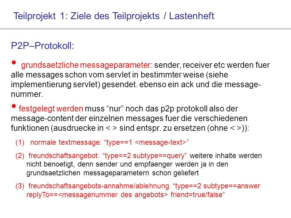 Teilprojekt 1: Ziele des Teilprojekts / Lastenheft P2P–Protokoll: grundsaetzliche messageparameter: sender, receiver etc werden fuer alle messages schon vom servlet in bestimmter weise (siehe implementierung servlet) gesendet.