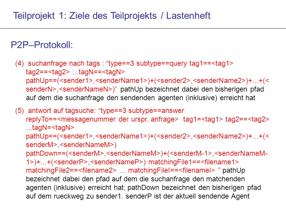"Teilprojekt 1: Ziele des Teilprojekts / Lastenheft P2P–Protokoll: (4) suchanfrage nach tags : ""type==3 subtype==query tag1== tag2==...tagN== pathUp==("