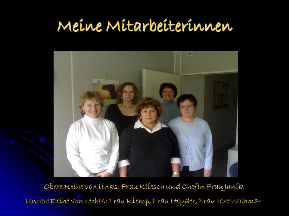 Meine Mitarbeiterinnen Obere Reihe von links: Frau Kliesch und Chefin Frau Janik Untere Reihe von rechts: Frau Klemp, Frau Heyder, Frau Kretzschmar