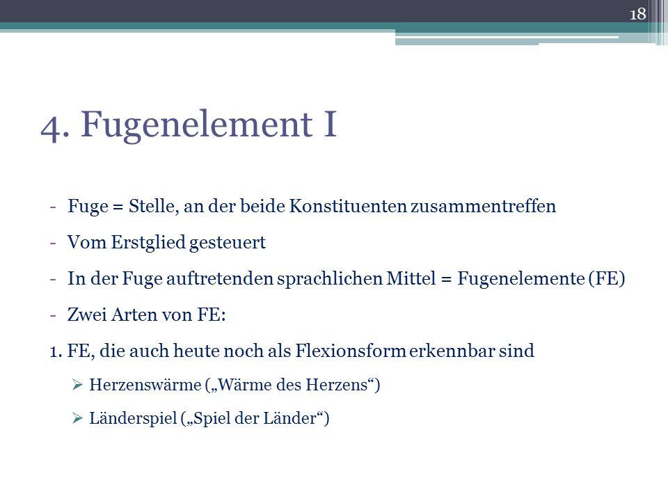 4. Fugenelement I -Fuge = Stelle, an der beide Konstituenten zusammentreffen -Vom Erstglied gesteuert -In der Fuge auftretenden sprachlichen Mittel =