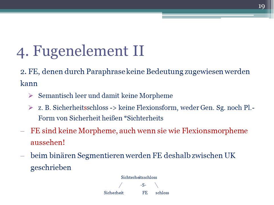 4. Fugenelement II 2. FE, denen durch Paraphrase keine Bedeutung zugewiesen werden kann  Semantisch leer und damit keine Morpheme  z. B. Sicherheits