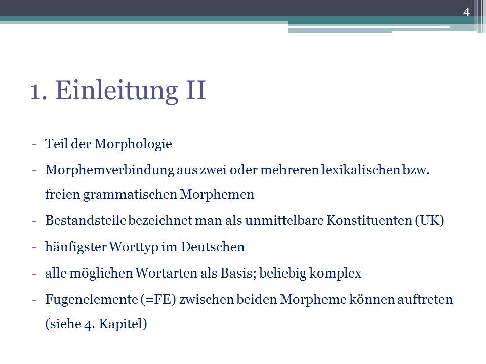1. Einleitung II -Teil der Morphologie -Morphemverbindung aus zwei oder mehreren lexikalischen bzw. freien grammatischen Morphemen -Bestandsteile beze