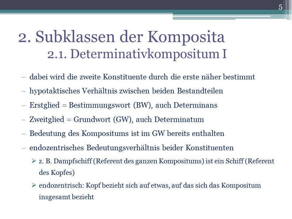 2. Subklassen der Komposita 2.1. Determinativkompositum I  dabei wird die zweite Konstituente durch die erste näher bestimmt  hypotaktisches Verhält