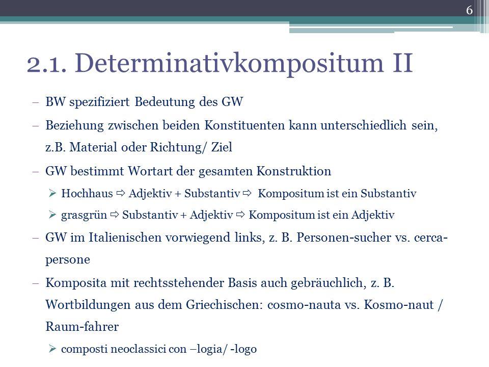 2.1. Determinativkompositum II  BW spezifiziert Bedeutung des GW  Beziehung zwischen beiden Konstituenten kann unterschiedlich sein, z.B. Material o