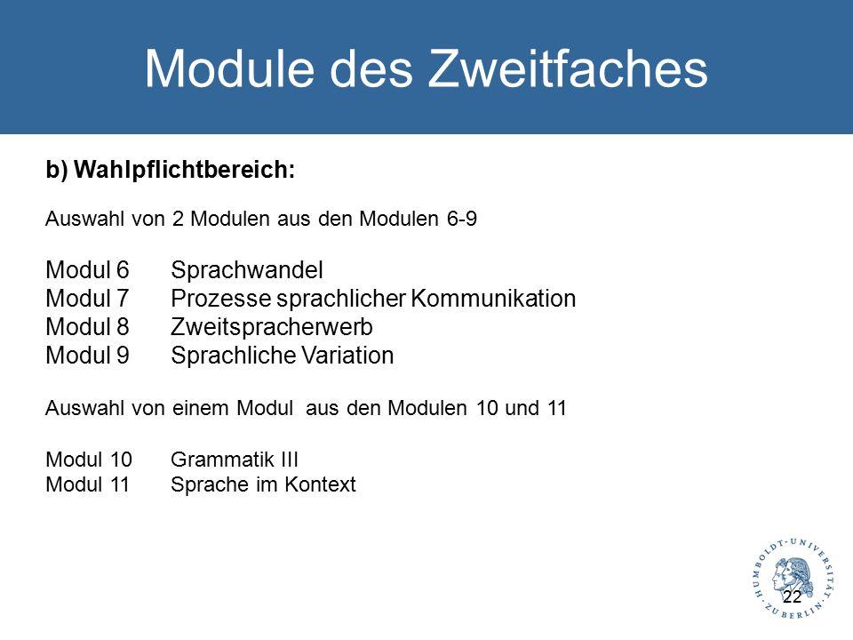 Module des Zweitfaches b) Wahlpflichtbereich: Auswahl von 2 Modulen aus den Modulen 6-9 Modul 6Sprachwandel Modul 7Prozesse sprachlicher Kommunikation Modul 8Zweitspracherwerb Modul 9Sprachliche Variation Auswahl von einem Modul aus den Modulen 10 und 11 Modul 10Grammatik III Modul 11Sprache im Kontext 22