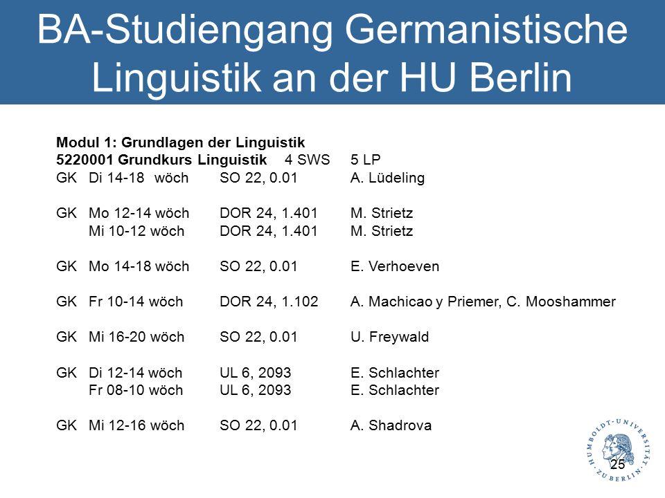 BA-Studiengang Germanistische Linguistik an der HU Berlin Modul 1: Grundlagen der Linguistik 5220001 Grundkurs Linguistik 4 SWS 5 LP GK Di 14-18 wöch SO 22, 0.01 A.