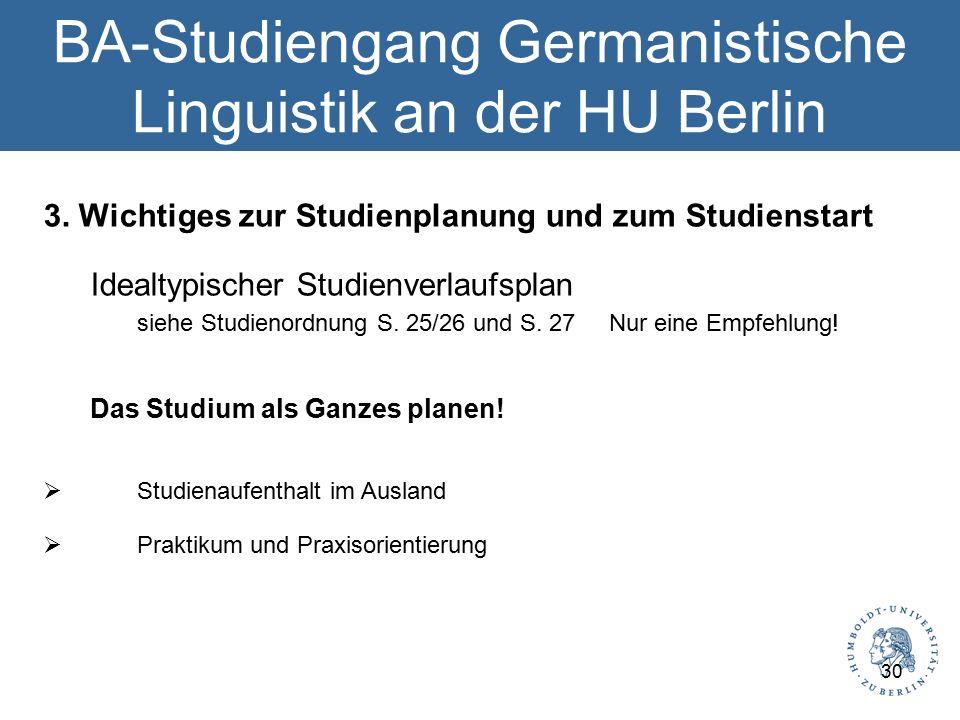 BA-Studiengang Germanistische Linguistik an der HU Berlin 3.