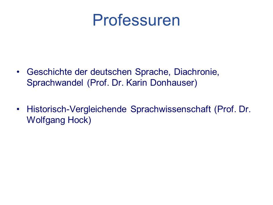 Professuren Geschichte der deutschen Sprache, Diachronie, Sprachwandel (Prof.