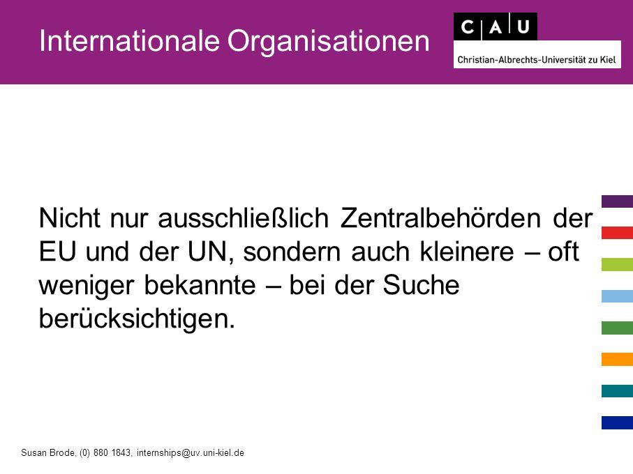 Internationale Organisationen Nicht nur ausschließlich Zentralbehörden der EU und der UN, sondern auch kleinere – oft weniger bekannte – bei der Suche berücksichtigen.