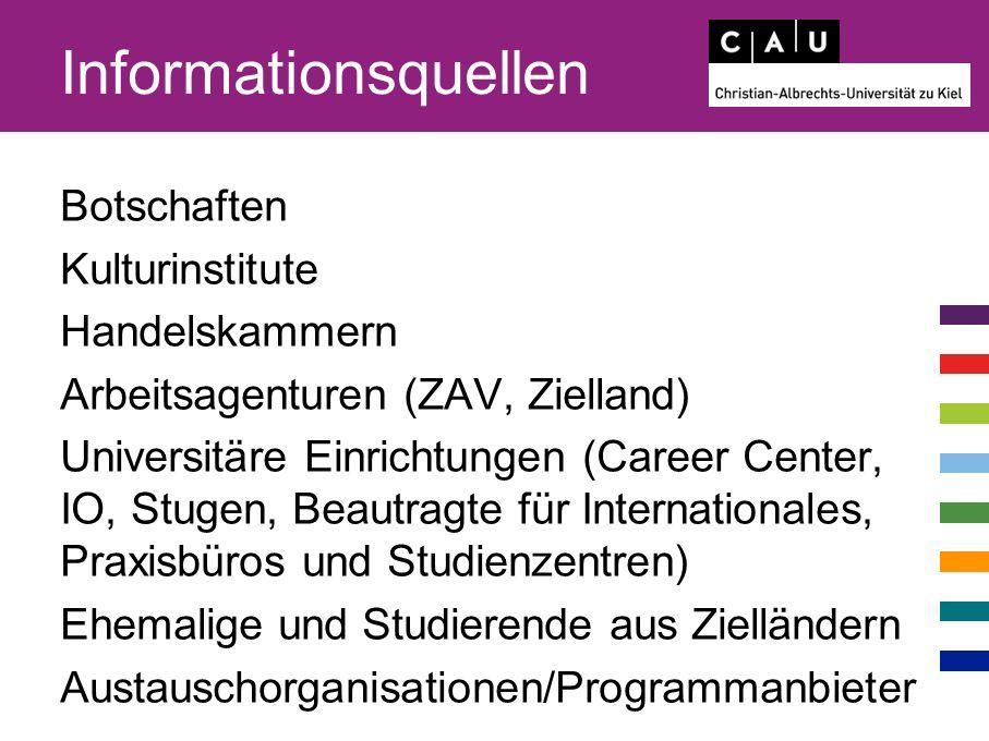 Informationsquellen Botschaften Kulturinstitute Handelskammern Arbeitsagenturen (ZAV, Zielland) Universitäre Einrichtungen (Career Center, IO, Stugen, Beautragte für Internationales, Praxisbüros und Studienzentren) Ehemalige und Studierende aus Zielländern Austauschorganisationen/Programmanbieter