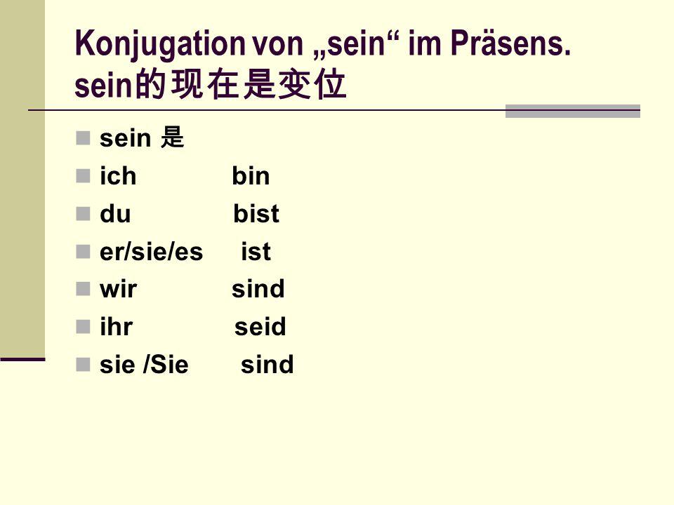 """Konjugation von """"sein"""" im Präsens. sein 的现在是变位 sein 是 ich bin du bist er/sie/es ist wir sind ihr seid sie /Sie sind"""