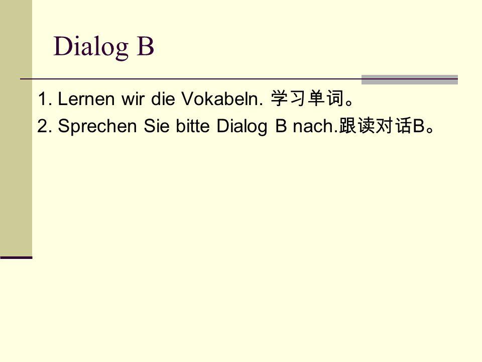 Dialog B 1. Lernen wir die Vokabeln. 学习单词。 2. Sprechen Sie bitte Dialog B nach. 跟读对话 B 。