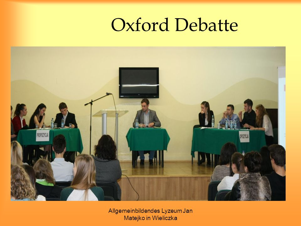 Allgemeinbildendes Lyzeum Jan Matejko in Wieliczka Oxford Debatte
