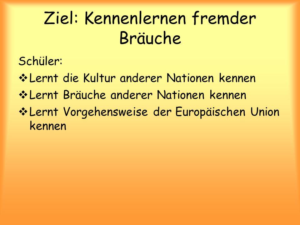 Ziel: Kennenlernen fremder Bräuche Schüler:  Lernt die Kultur anderer Nationen kennen  Lernt Bräuche anderer Nationen kennen  Lernt Vorgehensweise der Europäischen Union kennen