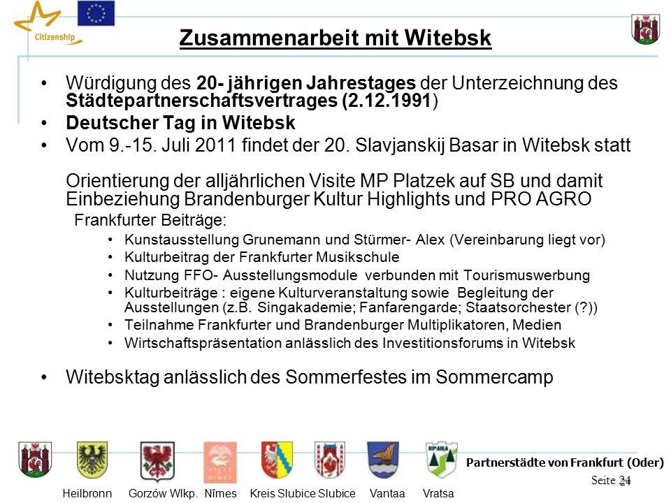 24 Seite 24 Partnerstädte von Frankfurt (Oder) Heilbronn Gorzów Wlkp.