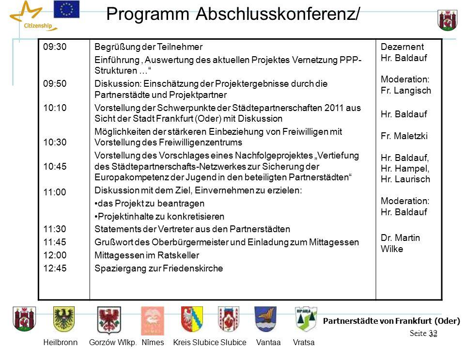 32 Seite 32 Partnerstädte von Frankfurt (Oder) Heilbronn Gorzów Wlkp.