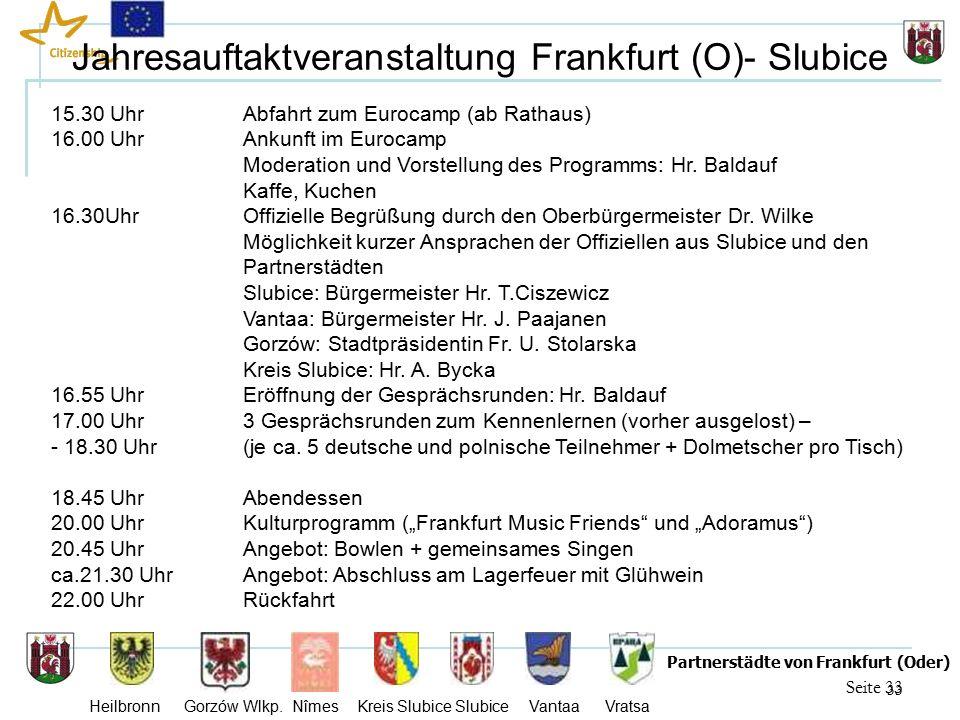 33 Seite 33 Partnerstädte von Frankfurt (Oder) Heilbronn Gorzów Wlkp.