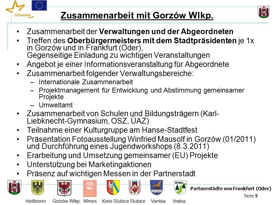 20 Seite 20 Partnerstädte von Frankfurt (Oder) Heilbronn Gorzów Wlkp.