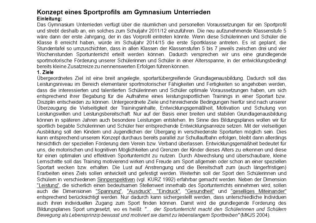Konzept eines Sportprofils am Gymnasium Unterrieden Einleitung: Das Gymnasium Unterrieden verfügt über die räumlichen und personellen Voraussetzungen für ein Sportprofil und strebt deshalb an, ein solches zum Schuljahr 2011/12 einzuführen.