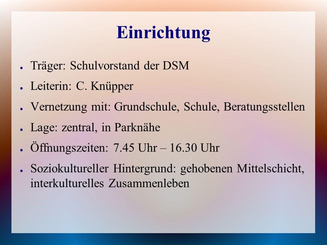 Einrichtung ● Träger: Schulvorstand der DSM ● Leiterin: C.