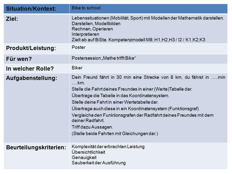 Situation/Kontext: Bike to school Ziel: Lebenssituationen (Mobilität, Sport) mit Modellen der Mathematik darstellen.