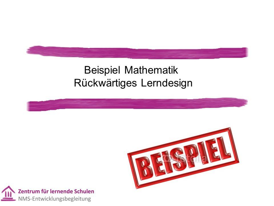 Beispiel Mathematik Rückwärtiges Lerndesign