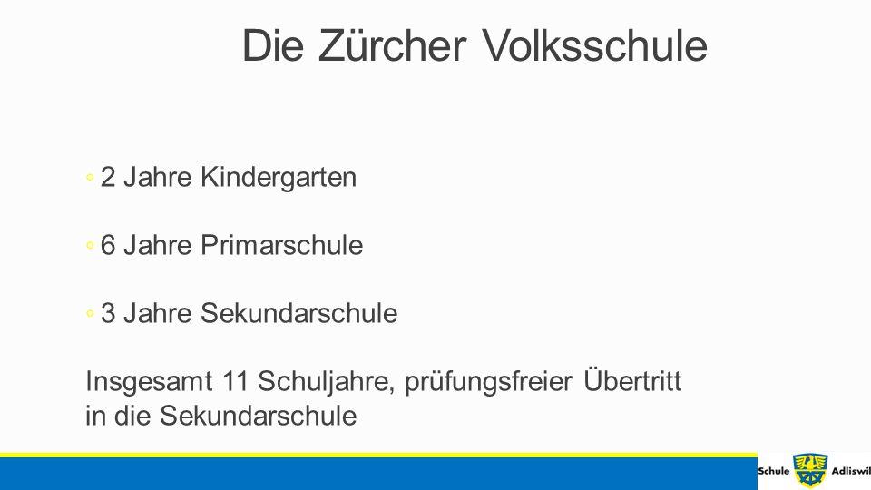 Die Zürcher Volksschule ◦ 2 Jahre Kindergarten ◦ 6 Jahre Primarschule ◦ 3 Jahre Sekundarschule Insgesamt 11 Schuljahre, prüfungsfreier Übertritt in die Sekundarschule