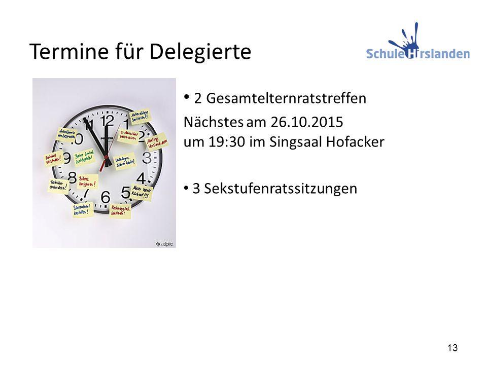 Termine für Delegierte 2 Gesamtelternratstreffen Nächstes am 26.10.2015 um 19:30 im Singsaal Hofacker 3 Sekstufenratssitzungen 13