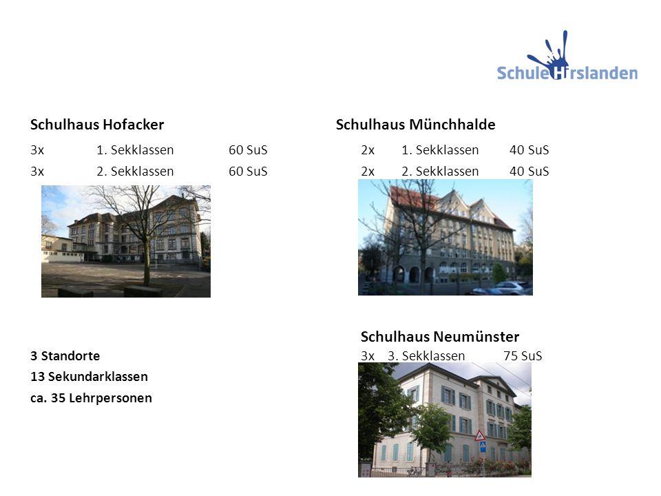 Schulhaus Hofacker Schulhaus Münchhalde 3x1. Sekklassen60 SuS 2x 1.
