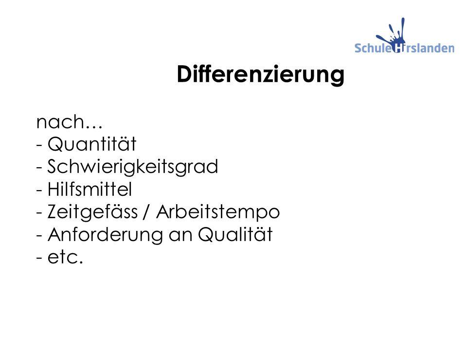 Differenzierung nach… - Quantität - Schwierigkeitsgrad - Hilfsmittel - Zeitgefäss / Arbeitstempo - Anforderung an Qualität - etc.