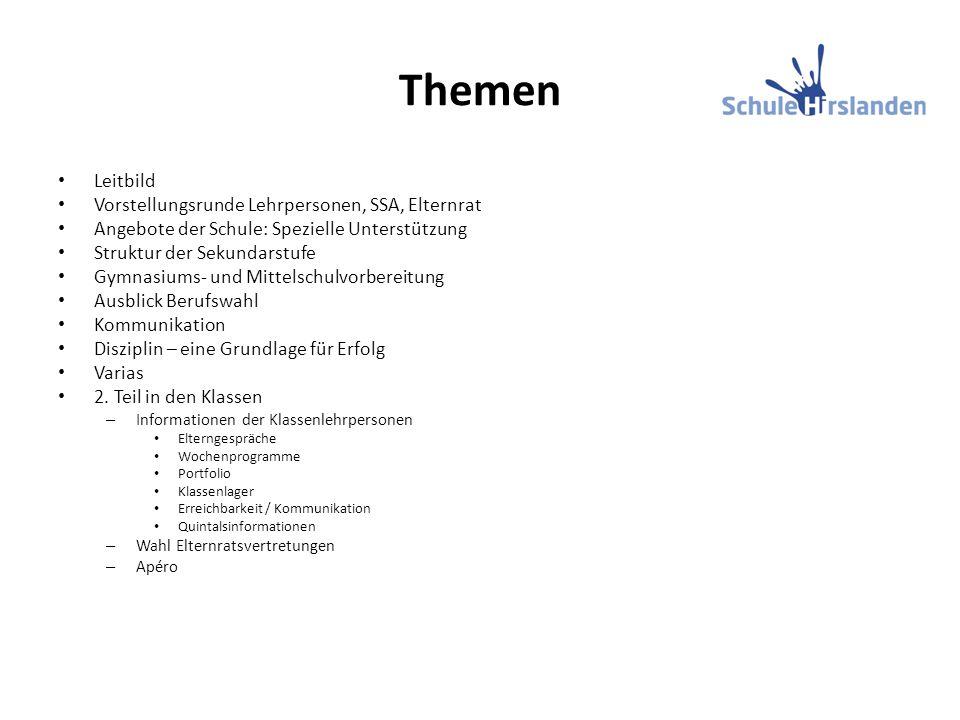 Themen Leitbild Vorstellungsrunde Lehrpersonen, SSA, Elternrat Angebote der Schule: Spezielle Unterstützung Struktur der Sekundarstufe Gymnasiums- und